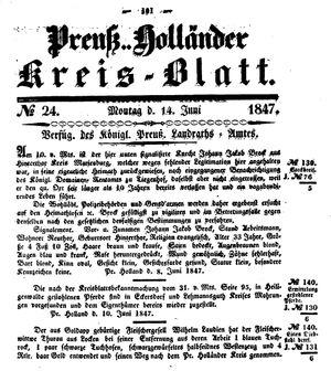 Kreisblatt des Königl. Preuss. Landraths-Amtes Preuss. Holland vom 14.06.1847