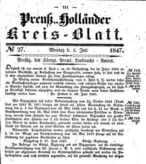Kreisblatt des Königl. Preuss. Landraths-Amtes Preuss. Holland vom 05.07.1847