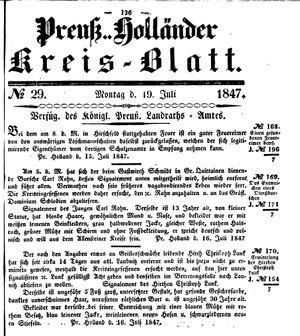 Kreisblatt des Königl. Preuss. Landraths-Amtes Preuss. Holland on Jul 19, 1847