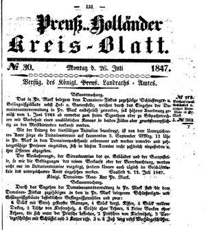 Kreisblatt des Königl. Preuss. Landraths-Amtes Preuss. Holland vom 26.07.1847