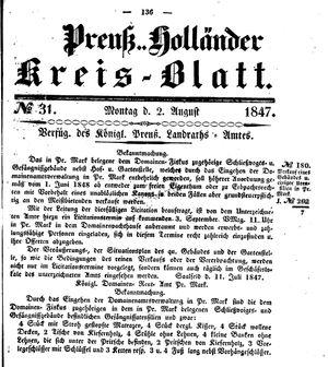 Kreisblatt des Königl. Preuss. Landraths-Amtes Preuss. Holland vom 02.08.1847
