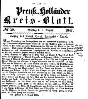 Kreisblatt des Königl. Preuss. Landraths-Amtes Preuss. Holland vom 09.08.1847