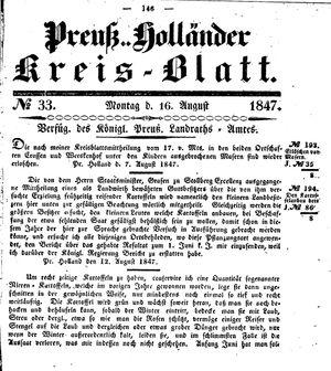 Kreisblatt des Königl. Preuss. Landraths-Amtes Preuss. Holland vom 16.08.1847