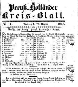 Kreisblatt des Königl. Preuss. Landraths-Amtes Preuss. Holland vom 23.08.1847