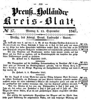 Kreisblatt des Königl. Preuss. Landraths-Amtes Preuss. Holland vom 13.09.1847