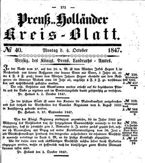 Kreisblatt des Königl. Preuss. Landraths-Amtes Preuss. Holland on Oct 4, 1847