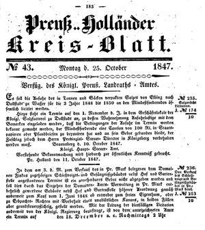Kreisblatt des Königl. Preuss. Landraths-Amtes Preuss. Holland vom 25.10.1847