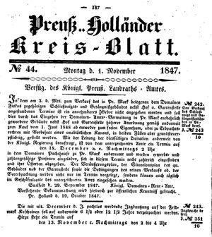 Kreisblatt des Königl. Preuss. Landraths-Amtes Preuss. Holland vom 01.11.1847