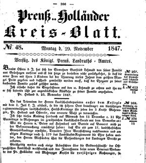 Kreisblatt des Königl. Preuss. Landraths-Amtes Preuss. Holland vom 29.11.1847