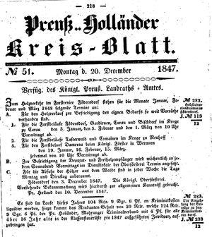 Kreisblatt des Königl. Preuss. Landraths-Amtes Preuss. Holland vom 20.12.1847