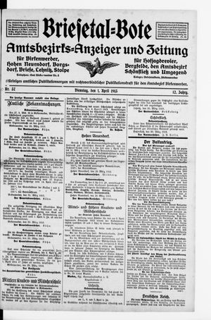 Briesetal-Bote vom 01.04.1913