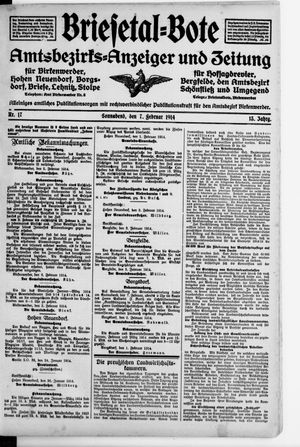Briesetal-Bote vom 07.02.1914