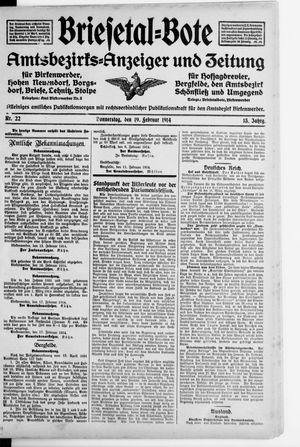 Briesetal-Bote vom 19.02.1914