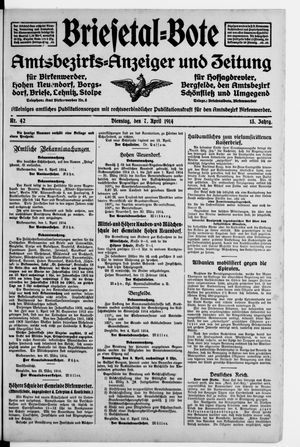 Briesetal-Bote vom 07.04.1914