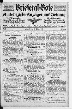 Briesetal-Bote vom 20.02.1915