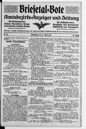 Briesetal-Bote vom 15.04.1915