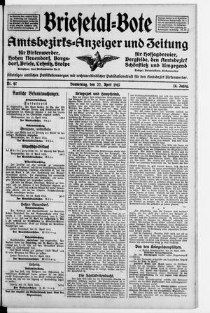 Briesetal-Bote vom 22.04.1915