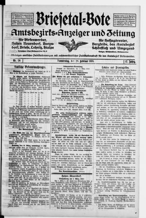 Briesetal-Bote vom 28.02.1918