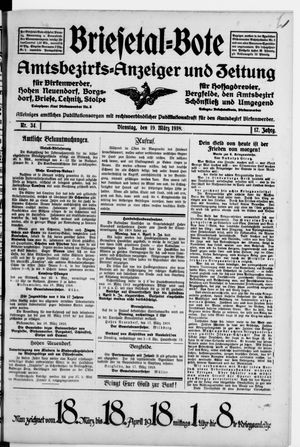 Briesetal-Bote vom 19.03.1918