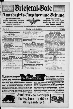 Briesetal-Bote vom 16.04.1918