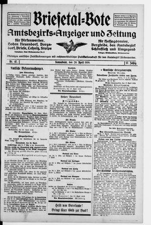 Briesetal-Bote vom 20.04.1918