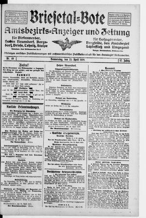 Briesetal-Bote vom 25.04.1918