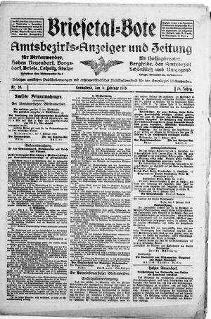 Briesetal-Bote vom 08.02.1919