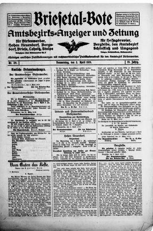 Briesetal-Bote vom 03.04.1919