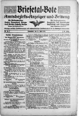 Briesetal-Bote vom 12.04.1919