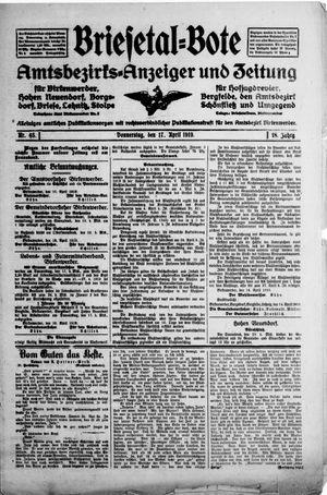 Briesetal-Bote vom 17.04.1919