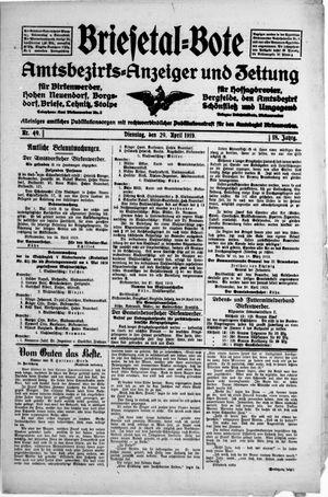 Briesetal-Bote vom 29.04.1919