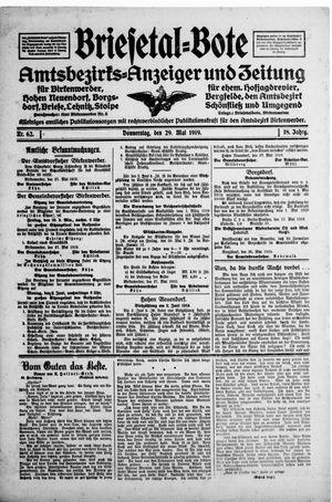 Briesetal-Bote vom 29.05.1919