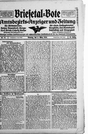 Briesetal-Bote vom 02.03.1920