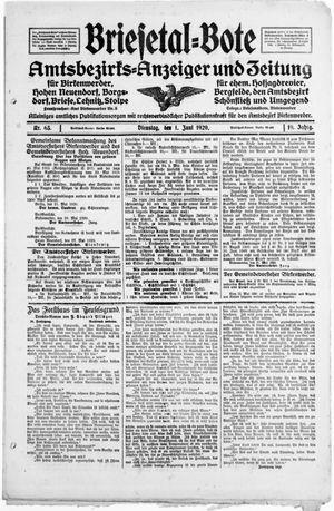 Briesetal-Bote vom 01.06.1920