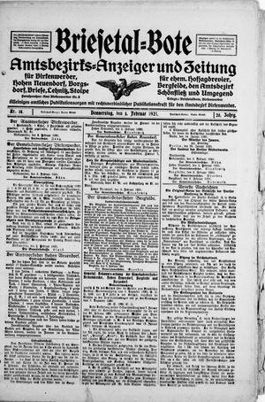 Briesetal-Bote vom 03.02.1921