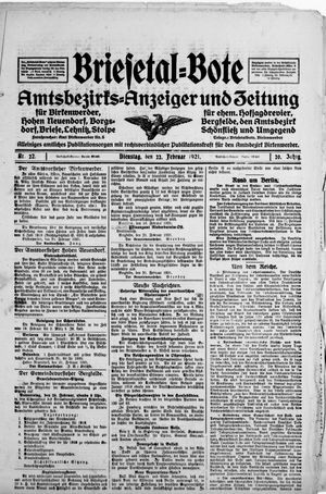 Briesetal-Bote vom 22.02.1921