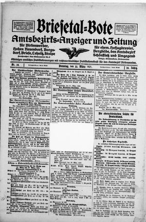 Briesetal-Bote vom 22.03.1921
