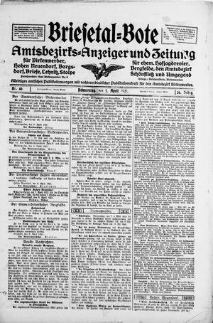 Briesetal-Bote vom 07.04.1921