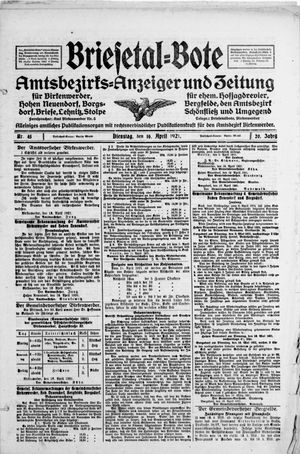 Briesetal-Bote vom 19.04.1921