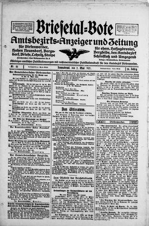 Briesetal-Bote vom 07.05.1921