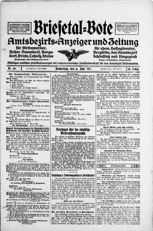 Briesetal-Bote vom 16.06.1921