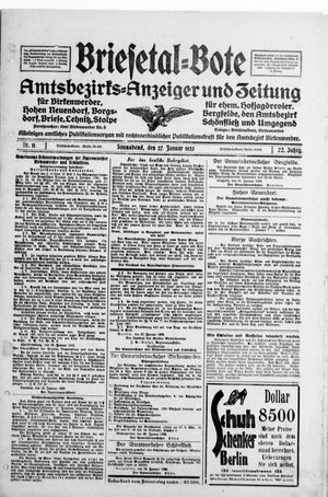 Briesetal-Bote vom 27.01.1923