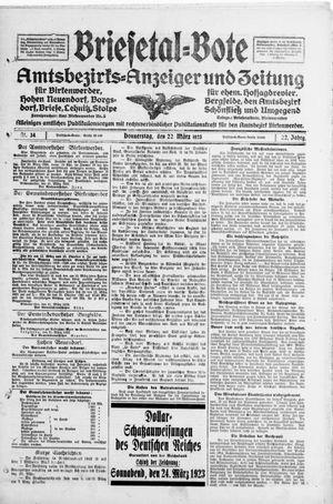 Briesetal-Bote vom 22.03.1923