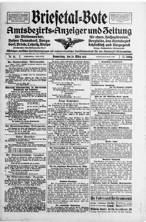 Briesetal-Bote vom 29.03.1923