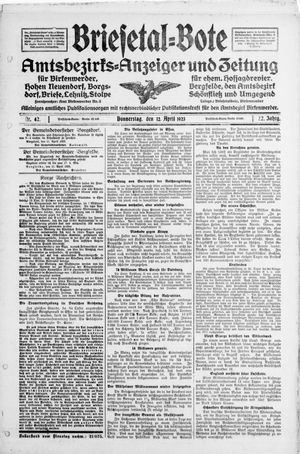 Briesetal-Bote vom 12.04.1923