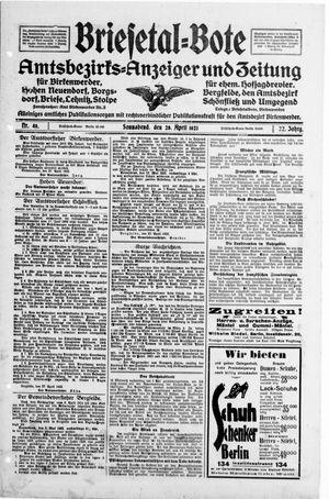 Briesetal-Bote vom 28.04.1923