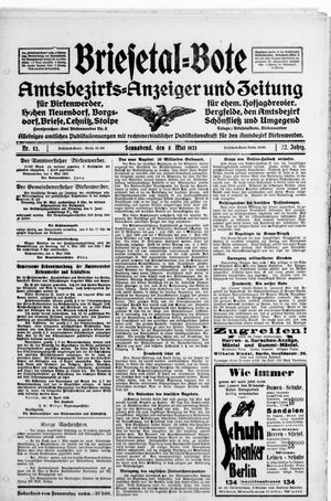 Briesetal-Bote vom 05.05.1923