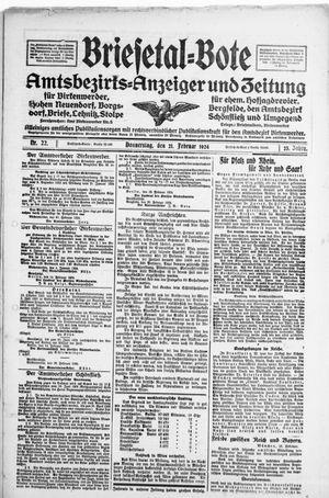 Briesetal-Bote vom 21.02.1924