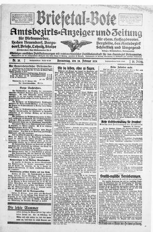 Briesetal-Bote vom 28.02.1924