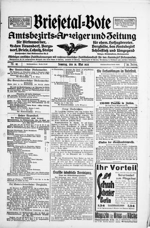Briesetal-Bote vom 18.05.1924